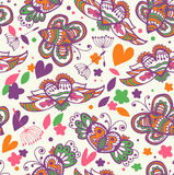 Beauty summer floral seamless background. Pattern with cute butterflies and fly hearts Royalty Free Stock Photos