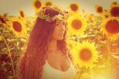 Beauty in sunflower field Stock Photography