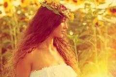 Beauty in sunflower field Stock Image