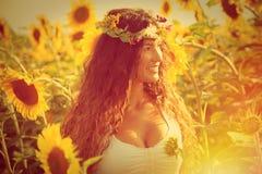 Beauty in sunflower field Royalty Free Stock Image