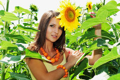 Beauty and sunflowers Stock Image