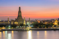 Beauty of Sunset at Arun temple the most tourist destination of Bangkok Royalty Free Stock Photos