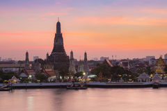Beauty of sunset at Arun temple waterfront, Landmark of Thailand Royalty Free Stock Photo