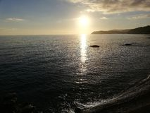 Beauty of sunset colors in Voltri Liguria Ital stock photos
