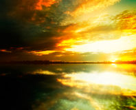Beauty sunset on the lake Royalty Free Stock Images