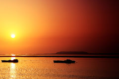 The beauty of sunset scene in Dongting lake Stock Photos