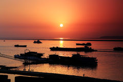 The beauty of sunset scene in Dongting lake Royalty Free Stock Photography