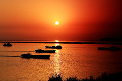 The beauty of sunset scene in Dongting lake Stock Image