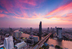 Beauty sunset sky background over Bangkok city downtown aerial view Thailand Stock Photo