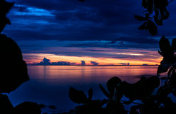 Beauty sunset sky with the sea in Thailand Royalty Free Stock Photography