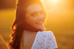Beauty Sunshine Girl Portrait. Happy Woman Smiling Royalty Free Stock Photos