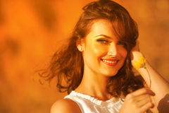 Beauty Sunshine Girl Portrait. Royalty Free Stock Image