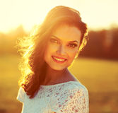 Beauty Sunshine Girl Portrait. Royalty Free Stock Photos