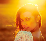 Beauty Sunshine Girl Portrait. Stock Image