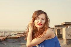 Beauty Sunshine Girl Portrait. Happy Woman Smiling Royalty Free Stock Photos