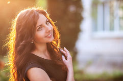 Beauty Sunshine Girl Portrait. Happy Woman Smiling Stock Image