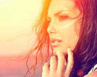 Beauty Sunshine Girl. Under the Hot Sun on the Beach Royalty Free Stock Images