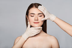 Beauty surgery woman portrait stock images