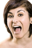 Beauty Surprised Brunette Woman Stock Photo