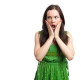 Beauty Surprised Brunette Woman Stock Images