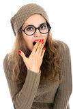 Beauty Surprised Woman isolated on White background. Beautiful Girl opening Mouth. Emotion Stock Photo