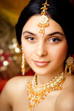Beauty sweet indian girl in sari smiling Royalty Free Stock Images
