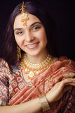 Beauty sweet real indian girl in sari smiling on Stock Photo