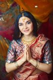 Beauty sweet real indian girl in sari smiling cheerful, jewelry shining, lifestyle people concept. Closeup stock images