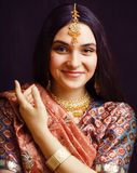 Beauty sweet real indian girl in sari smiling, lifestyle people. Concept royalty free stock photo