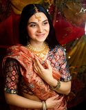 Beauty sweet real indian girl in sari smiling, lifestyle people. Concept royalty free stock photography