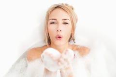 Beauty taking bath. Stock Photos