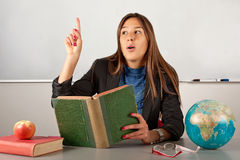 Beauty teacher talking about book Stock Image