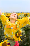 Beauty Teen Girl And Sunflower Royalty Free Stock Images