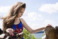 Beauty teen Girl in blue UK dance costume Royalty Free Stock Image