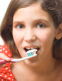 Beauty teen girl clean teeth Stock Image