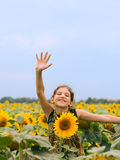 Beauty teen girl with sunflower Royalty Free Stock Photography