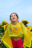 Beauty teen girl and sunflower Stock Photo