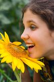 Beauty teen girl and sunflower Stock Image