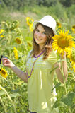 Beauty teen girl and sunflowers Royalty Free Stock Images