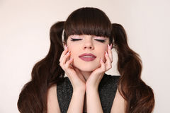 Beauty teen makeup and hairstyle. teenage girl with hair tail an Stock Photos