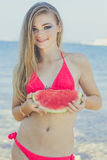 Beauty teen model girl eating watermelon Royalty Free Stock Images