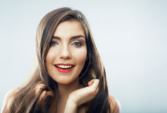 Beauty teenager girl close up portrait. Female face close up Royalty Free Stock Photos