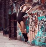 Beauty teenager girl dance on street royalty free stock photography