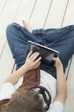 Beauty teenager with tablet pc Royalty Free Stock Images