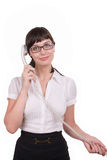Beauty with a telephone receiver Royalty Free Stock Photo