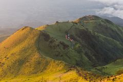 The beauty of the teletubbies hill on Mount Merbabu in the morning stock photo