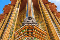 The beauty of the Temple of the Emerald Buddha. Buddha on the outside of the Emerald Buddha and the Grand Palace Thailand Royalty Free Stock Photos