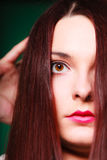 Beauty terrified woman face. Stock Photos