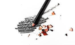 Black eye pencil stroke close-up isolated on white background. Beauty texture, cosmetic product and art of make-up concept - Black eye pencil stroke close-up stock images