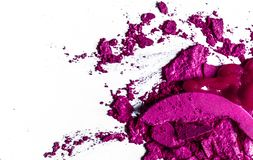 Crushed eyeshadows, lipstick and powder isolated on white background. Beauty texture, cosmetic product and art of make-up concept - Crushed eyeshadows, lipstick stock photos